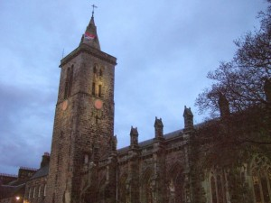 St Salvators tower, at the University of St Andrews. 8am on Graduation day.