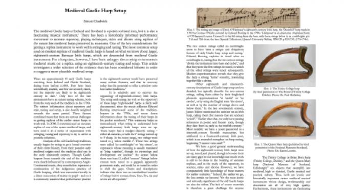 Medieval Gaelic harp setup