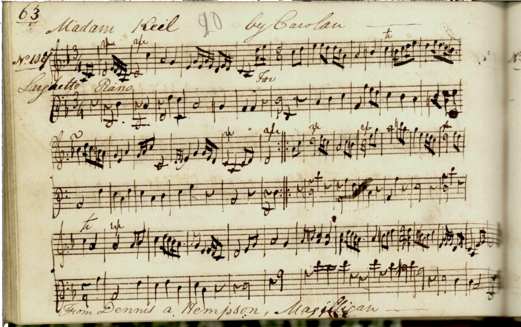 Eleanor Plunkett: Edward Bunting's classical piano arrangement of the tune, titled Madam Keil, 1798, Queen's University Belfast, Special Collections MS4.33.2 p.62