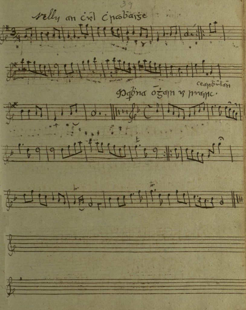 Eleanor Plunkett: a rough copy of the tune, a Nelly an chuil chraobhaigh, in James Cody's manuscript, c1805-1810, Queen's University Belfast, Special Collections MS4.6.048