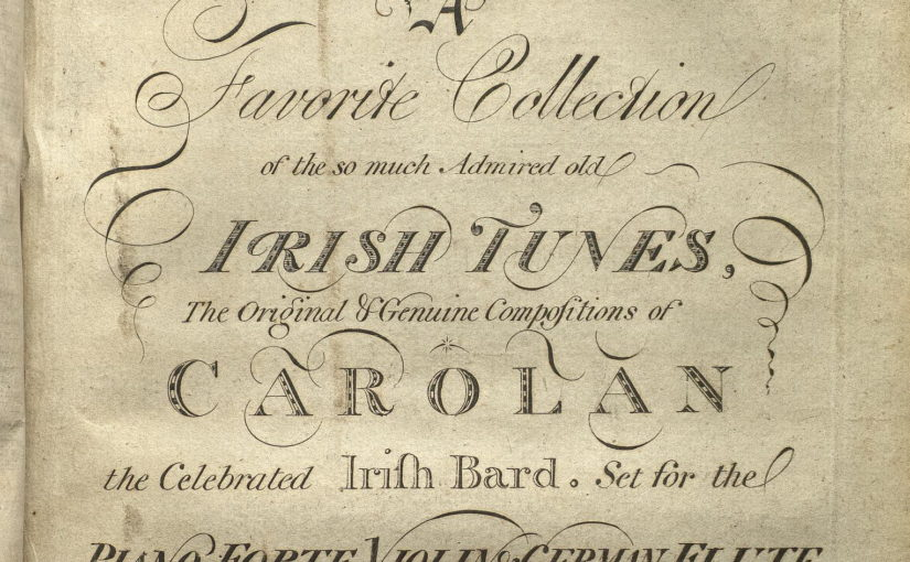 Title page of the Broderip & Wilkinson Compositions of Carolan book