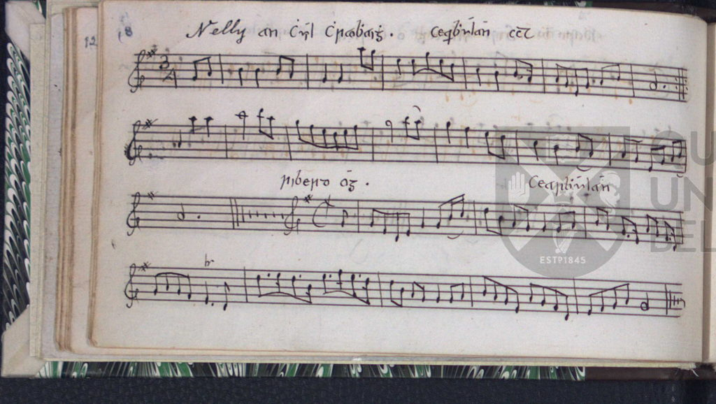 Eleanor Plunkett: the song melody, a Nelly an chuil chraobhaigh, in James Cody's manuscript, c1805-1810, Queen's University Belfast, Special Collections MS4.5 p.18