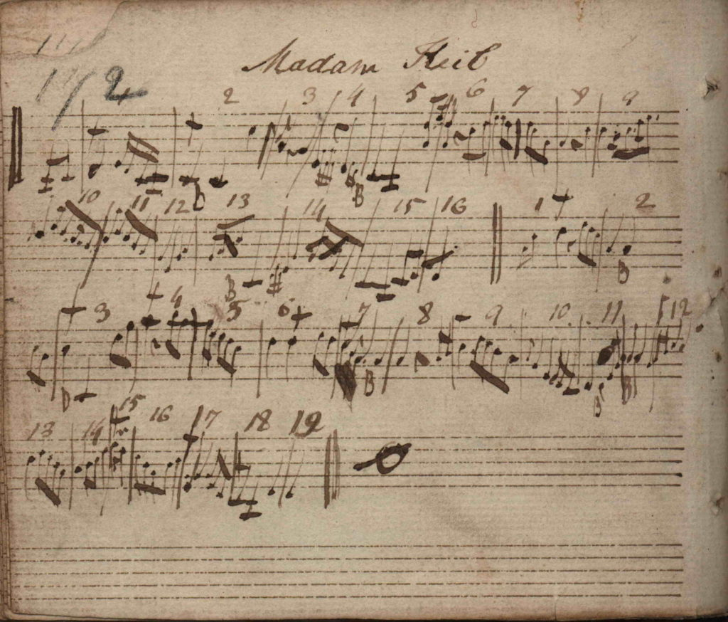 Eleanor Plunkett: Edward Bunting's Harp transcription of the tune from Denis O'Hampsey, 1792 or 1796, titled Madam Keil, Queen's University Belfast, Special Collections MS4.29 p.172
