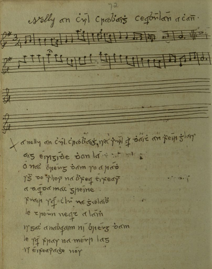Eleanor Plunkett: the song melody and text a Nelly an chuil chraobhaigh, in James Cody's manuscript, c1805-1810, Queen's University Belfast, Special Collections MS4.6.081